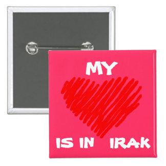 MI AMOR está en IRAQ Pin Cuadrado
