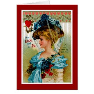 Mi amor piensa en mí tarjeta de felicitación