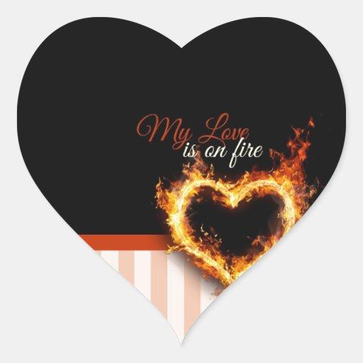 Mi amor se arde calcomanía de corazón personalizadas