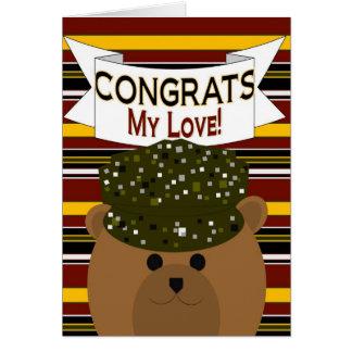 ¡Mi amor - soldado Congrats del ejército! Tarjeta De Felicitación