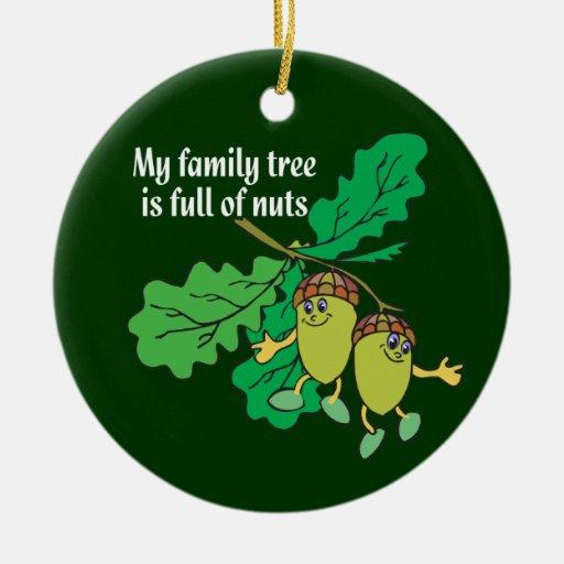 Mi árbol de familia es lleno de ornamento Nuts de Adorno Navideño Redondo De Cerámica