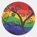 Mi árbol del arco iris pegatina redonda