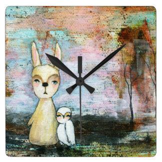 Mi arte caprichoso del arbolado del búho del reloj cuadrado