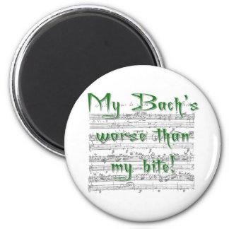 ¡Mi Bach peor que mi mordedura! Imán Redondo 5 Cm
