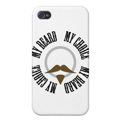 Mi barba, mi opción - perilla de Brown iPhone 4 Fundas