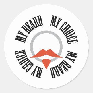 Mi barba, mi opción - perilla roja pegatina redonda