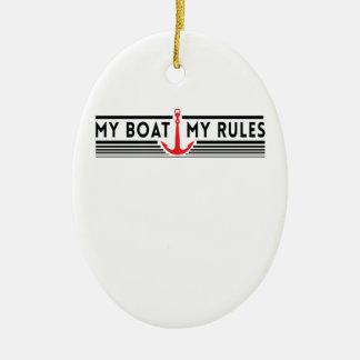 Mi barco mis reglas adorno navideño ovalado de cerámica