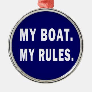 Mi barco. Mis reglas - canotaje divertido Adorno Redondo Plateado