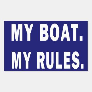 Mi barco. Mis reglas - canotaje divertido Pegatina Rectangular