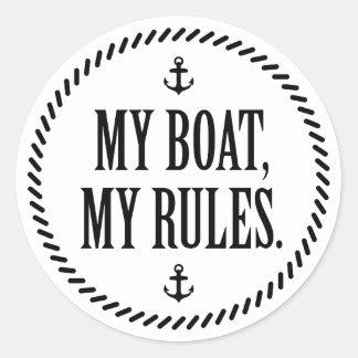 Mi barco, mis reglas pegatina redonda
