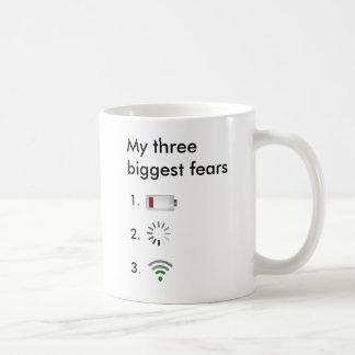 Mi batería baja de tres miedos más grandes, icono taza básica blanca