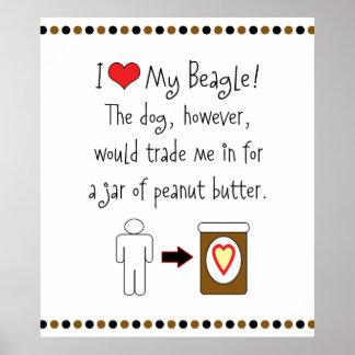 Mi beagle ama la mantequilla de cacahuete póster