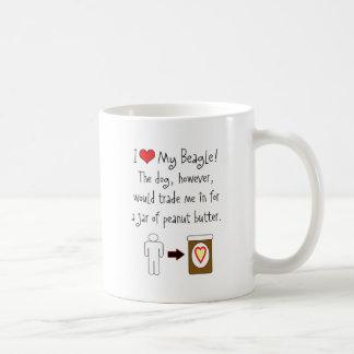 Mi beagle ama la mantequilla de cacahuete taza de café