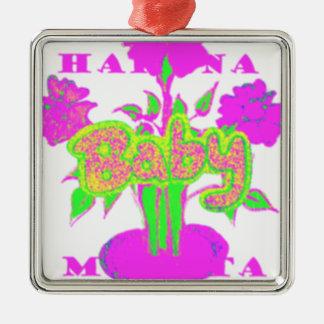 Mi bebé Hakuna Matata Adorno Cuadrado Plateado