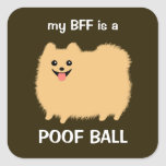 Mi BFF es una bola del Poof (Pomeranian mullido) Pegatina Cuadrada