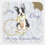 Mi Boston Terrier comió mi plan de lección Calcomania Cuadradas Personalizada