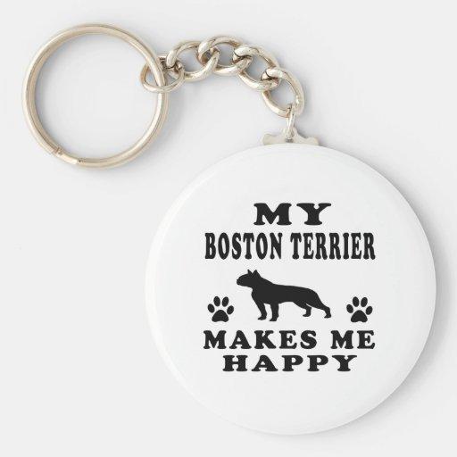 Mi Boston Terrier me hace feliz Llavero Personalizado