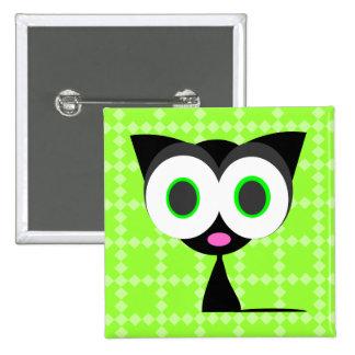 Mi botón modelado verde afortunado del gato negro pin cuadrado