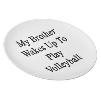 Mi Brother despierta para jugar a voleibol Platos