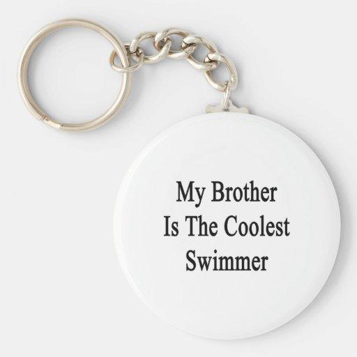 Mi Brother es el nadador más fresco Llavero Redondo Tipo Pin