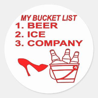 Mi Bucket List Beer Ice & Company Pegatina Redonda