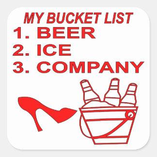 Mi Bucket List Beer Ice & Company Pegatina Cuadrada