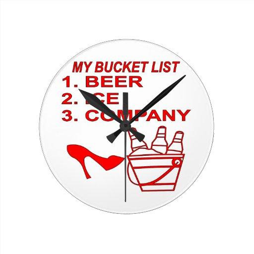 Mi Bucket List Beer Ice & Company Reloj Redondo Mediano