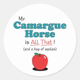 ¡Mi caballo de Camargue es todo el eso Caballo di Pegatina Redonda