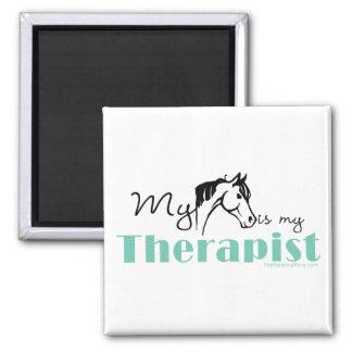 Mi caballo es mi terapeuta imán cuadrado