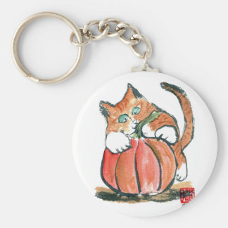 Mi calabaza Meows gatito del tigre, Sumi-e Llaveros