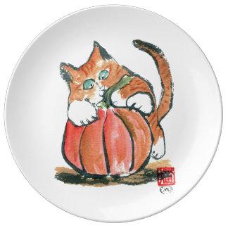 Mi calabaza Meows gatito del tigre, sumi-e Platos De Cerámica