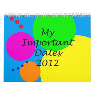 Mi calendario importante de las fechas 2012