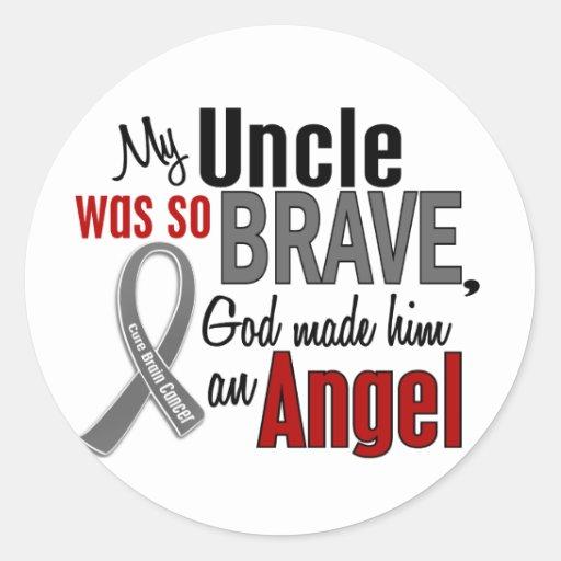 Mi cáncer de cerebro de tío Is An Angel 1 Etiquetas Redondas