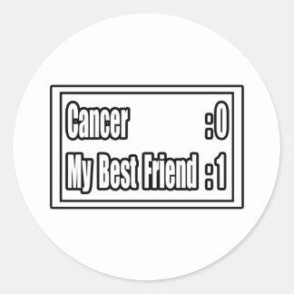 Mi cáncer del golpe del mejor amigo (marcador) pegatina redonda