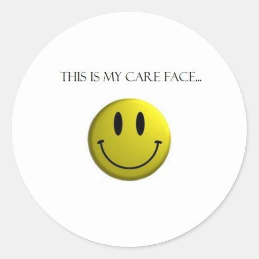 Mi cara del cuidado pegatinas redondas