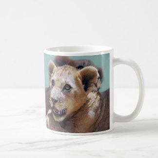 Mi cara linda del león taza de café