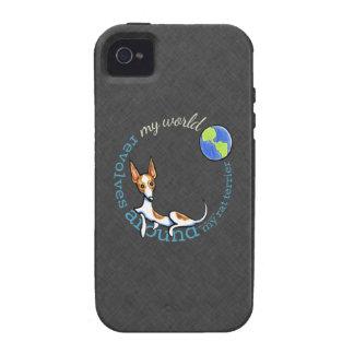 Mi carbón rojo de Terrier de rata del mundo iPhone 4 Carcasa