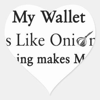 Mi cartera es como una cebolla, abriéndose hace pegatina en forma de corazón
