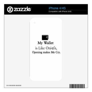 Mi cartera es como una cebolla, abriéndose hace skin para el iPhone 4