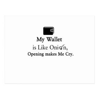 Mi cartera es como una cebolla, abriéndose hace tarjetas postales
