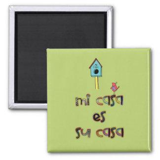 Mi casa es su casa birdhouse refrigerator magnets
