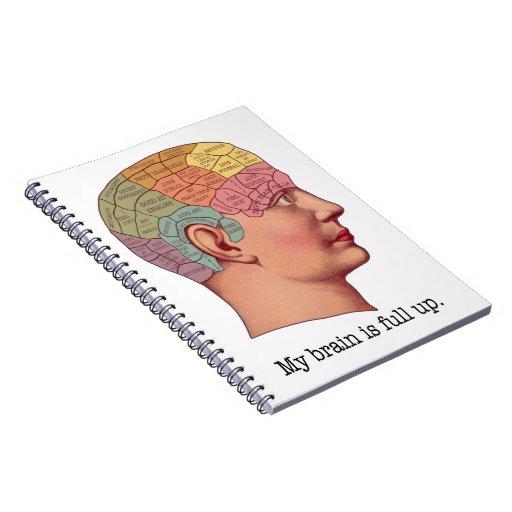 Mi cerebro es ascendente lleno libros de apuntes con espiral