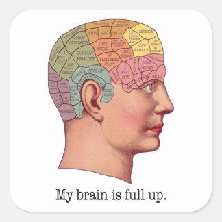 Mi cerebro es ascendente lleno pegatina cuadrada