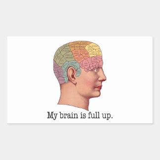 Mi cerebro es ascendente lleno pegatina rectangular