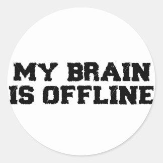 Mi cerebro es pegatinas fuera de línea pegatina redonda