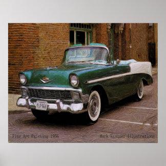Mi Chevy verde 1956 define el aceite Posters