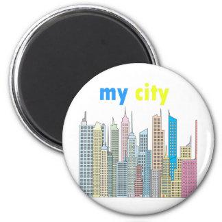 Mi ciudad imán redondo 5 cm