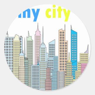 Mi ciudad pegatina redonda