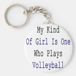 Mi clase de chica es uno quién juega a voleibol llavero redondo tipo pin