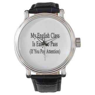 Mi clase de inglés es fácil de pasar si usted paga reloj de mano